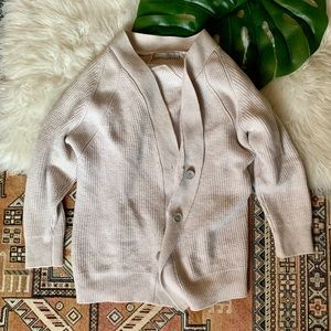 Vince Wool Oatmeal Button Down Cardigan - S